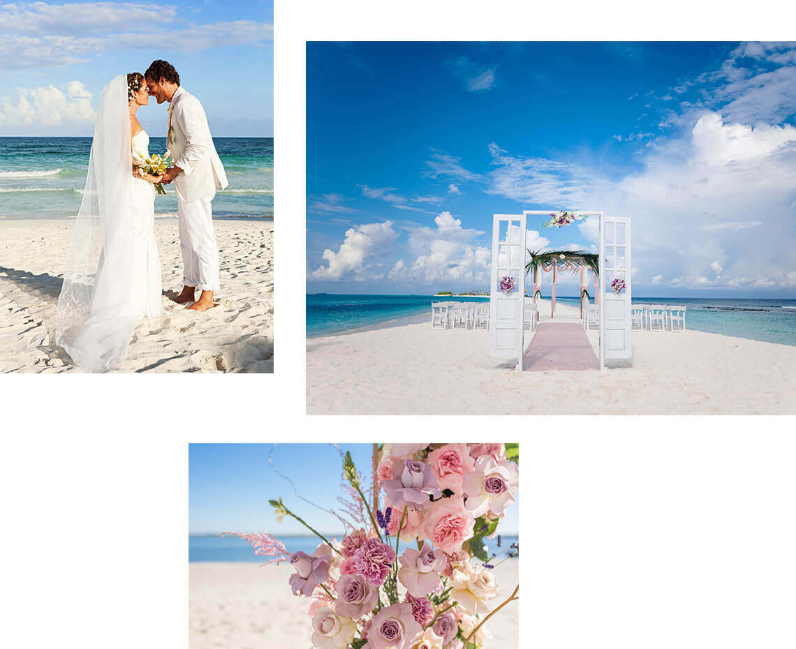 Beach wedding with flowers at Finolhu