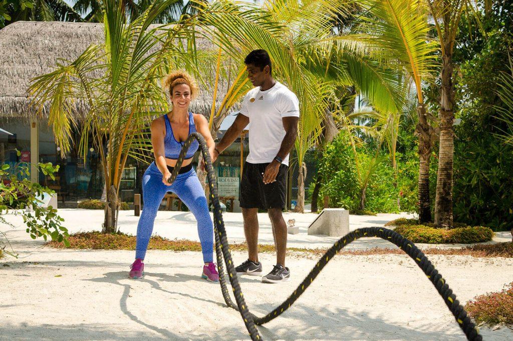 Outdoor fitness training at Finolhu