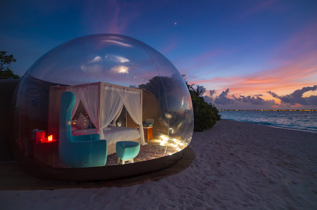 Honeymoon in our Beach Bubble Tent on Finolhu