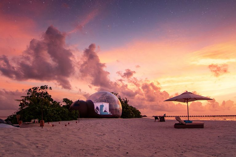 Finolhu Beach Bubble with dreamy sunset, perfect for honeymoon
