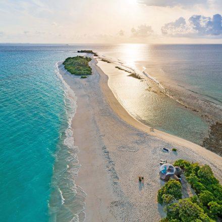 honeymoon beach bubble tent on a sandbank