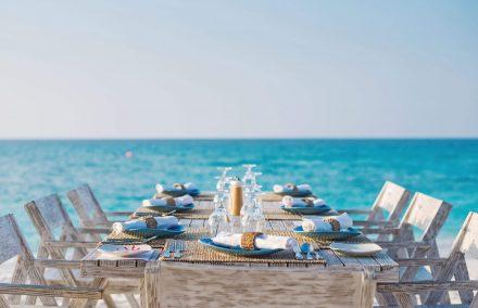 table set on the beach