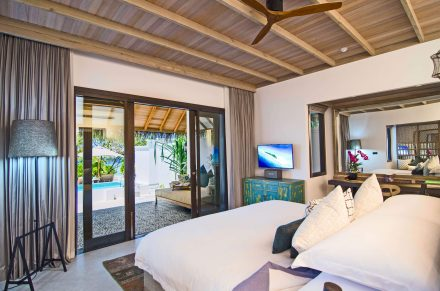 Livingroom of the private beach pool villa