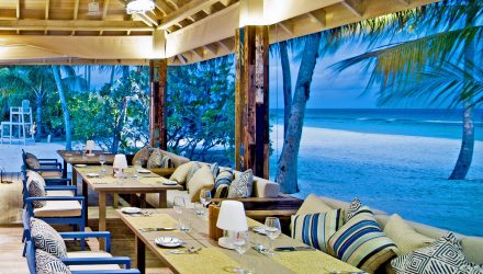 Dining at beach with ocean view
