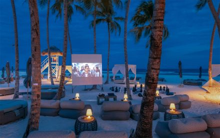 outdoor beach cinema at maldives