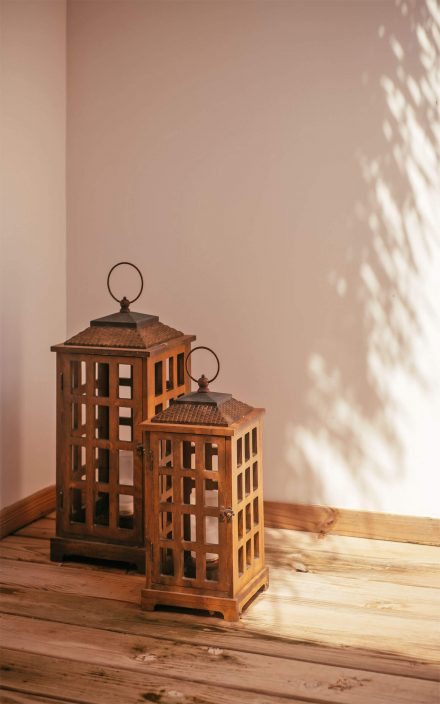designed wood lanterns