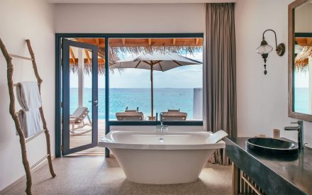 freestanding bathtub with sea view