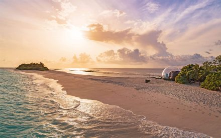 Finolhu Beach Bubble tent by sunset