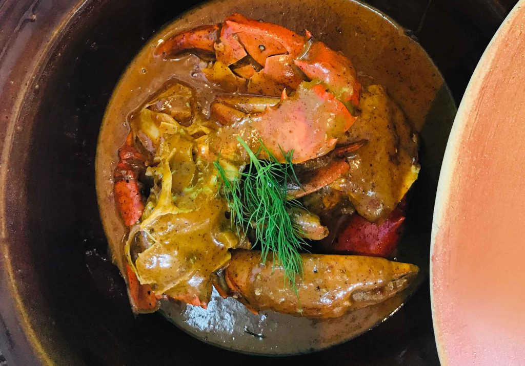 Forbes signature hotel dish Crab Shack Mud Crab curry