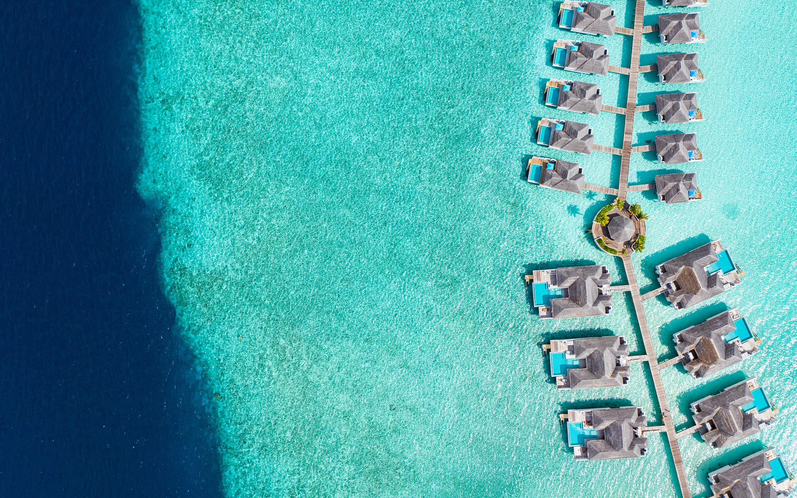aerial shot Finolhu villas