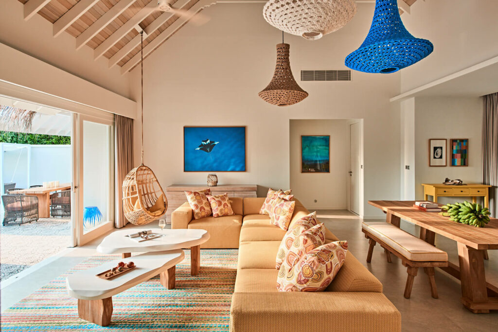 Luxurious living room of the 2 Bedroom Beach Villa with Pool